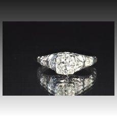 1.48 Carat Edwardian Old Mine Cut Engagement Ring / 1.28 Carat Center / EGL Certified