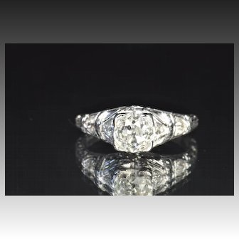 1.48 Carat Edwardian Old Mine Cut Engagement Ring / 1.28 Carat Center / EGL Certified