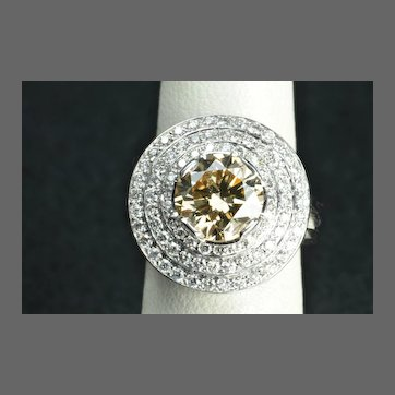 4.39 Carat Fancy Yellow/Brown Diamond Ring / 3.22 Carat Center