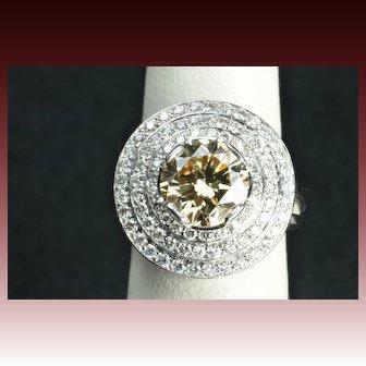 4.39 Carat Fancy Yellow/Brown Diamond Ring / 3.22 Carat Center / Clearance Priced