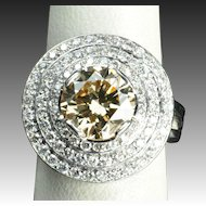 4.39 Carat Fancy Yellow/Brown Diamond Ring / 3.22 Carat Center