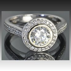 1.56 Carat Bezel Set Diamond Ring / 1.05 Center