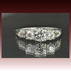 1.5 Carat Old European Cut Diamond Ring / .70 Carat Center