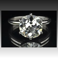 4.24 Old Mine Cut Diamond Solitaire Ring / EGL Certified