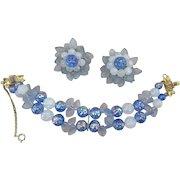 Vintage Schiaparelli Signed Glass Beaded Bracelet and Earrings