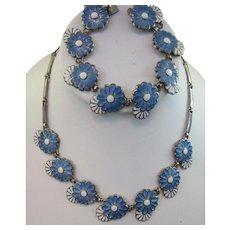Margot de Taxco Silver Enameled Necklace and Bracelet