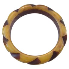 Resin Washed Bakelite Carved Bangle