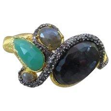 Alexis Bittar Stone Encrusted Hinged Bracelet