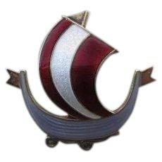 Sterling Silver Norway Viking Ship Pin