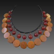 Bakelite and Leather Necklace