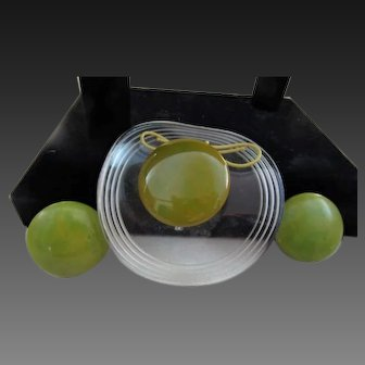 Bakelite and Lucite Pin and Earrings  - Figural