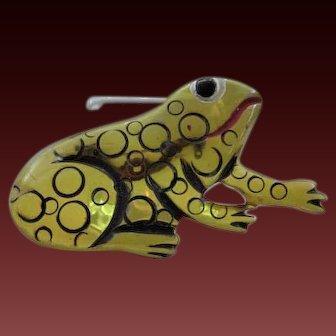 Carved Bakelite Figural Frog Pin