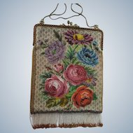 Austria Micro Beaded Floral Purse - Enameled Frame