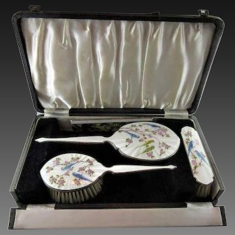 Figural English Sterling and Guilloche Complete Vanity Set