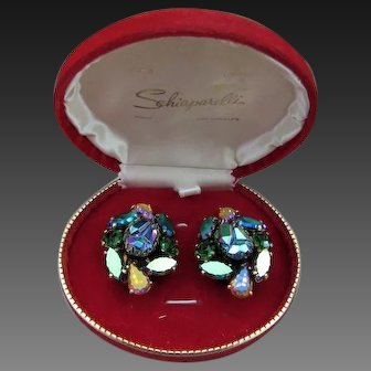 Schiaparelli Iridescent Lava Stone Earrings with Box