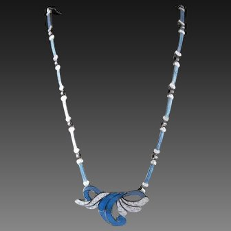 Margot de Taxco Sterling and Enamel Necklace