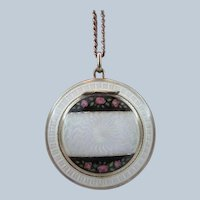 Guilloche Enamel Compact Pendant Necklace .935