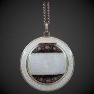 Guilloche Enamel Compact Pendant Necklace .935