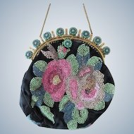 Silk Beaded Purse with Jeweled Frame