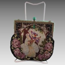 Figural Petit Point Purse - Glass Beaded Frame