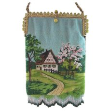 Scenic Beaded Purse with Jeweled and Bakelite Frame