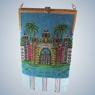 Vintage Scenic Beaded Purse with Marcasite Frame