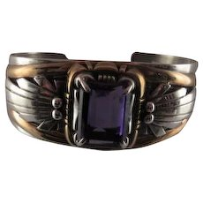 Sterling and Large Amethyst Cuff Bangle
