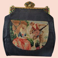 Trinity Plate Satin and Petit Point Purse