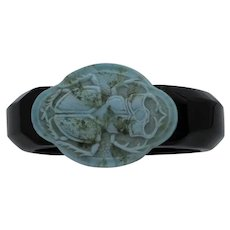 Vintage Thermoplastic Bangle with Ceramic Scarab
