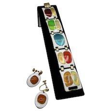 Retro Style Link Bracelet and Earrings - Kay Denning
