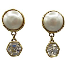 Chanel Signed Faux Pearl Earrings