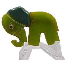 Adorable Bakelite Articulated Elephant Pin