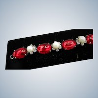 Carnegie Red Bracelet with Faux Pearls