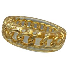 Vintage Lucite Bangle with Embedded Chain