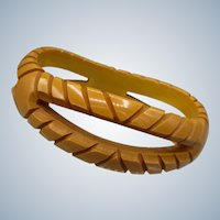 Carved Vintage Bakelite Bangle
