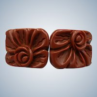 Vintage Carved Hinged Bakelite Bangle