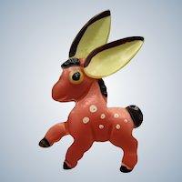 Vintage Figural Nylon Lucite Donkey Pin