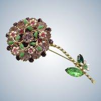 Weiss Signed Rhinestone Flower Pin