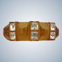 Rhinestone Reverse Carved Bakelite Bracelet