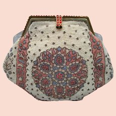 French Seed Beaded Purse with Rhinestones
