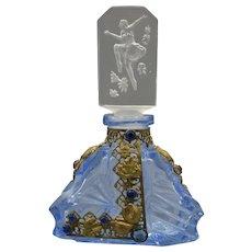 Vintage Czech. Blue Glass Jeweled Perfume Bottle