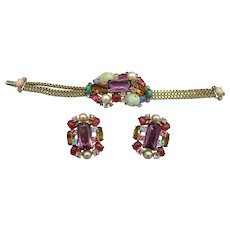 Hollycraft Jeweled Bracelet and Earrings