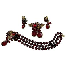 DeMario Bracelet, Pins and Earrings - Red Glass and Rhinestones