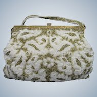 Vintage Magid Hand Beaded White and Gold Purse