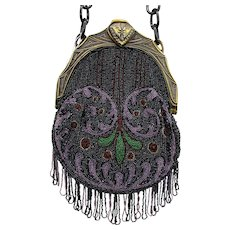 Vintage Beaded Purse with Figural Celluloid Frame