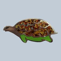 Signed Sterling Figural Turtle Pin with Enameling