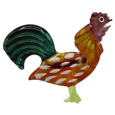 Lucite Figural Enameled and Carved Lucite Pin