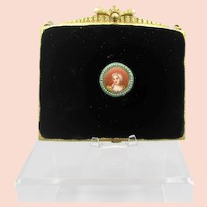 Vintage Small Velvet Purse with Trinity Plate Style Frame