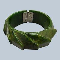 Vintage Carved Hinged Bakelite Clamper Bracelet