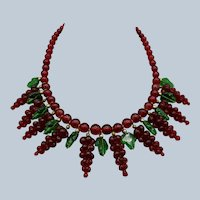 Beautiful Red and Green Glass Beaded Necklace